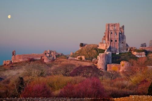Sunset Corfe Castle by Jim Berkshire