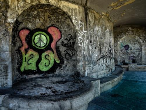 Graffittied Pavilion by Jeff Royce