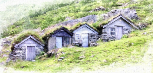 Hillside Huts by Margaret Stredwick