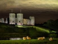 Night Falls on Rhuddlan Castle by Gill Hitchcock