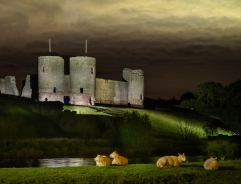 Night Falls on Rhuddlan Castle by Gill Hitchcock
