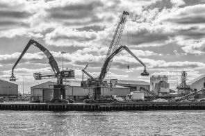 Idle Cranes by Den Heffernon